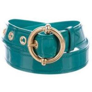 Miu Miu Teal Patent Leather Brass Buckle Belt